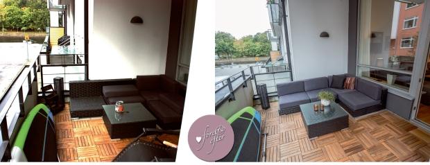 Före- och efter en styling light på balkongen