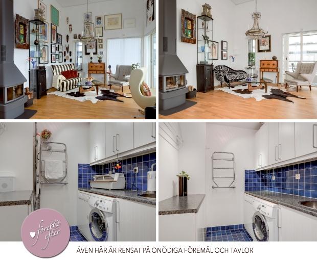 Före- och efterbilder av styling av vardagsrum och tvättstuga!