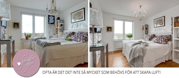 Före- och efterbild av styling av sovrum!
