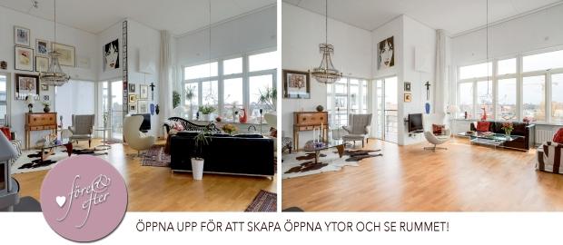 Före- och efterbilder av en styling av vardagsrum.