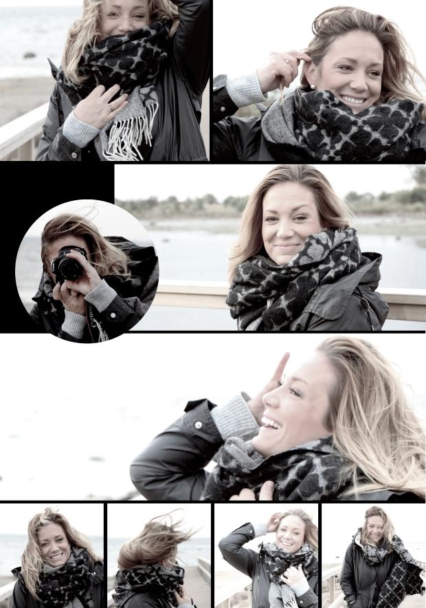 Collage av bilder på Sophie Ingelsten på Sophie Interiors i halv storm på Jansabryggan i Halmstad.
