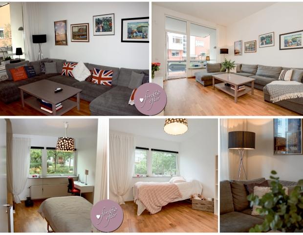 Före- och efterbilder på ett vardagsrum och ett sovrum