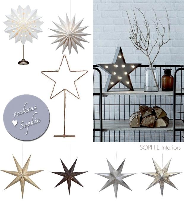 Bilder på olika typer av julstjärnor att hänga/ställa i fönstret!