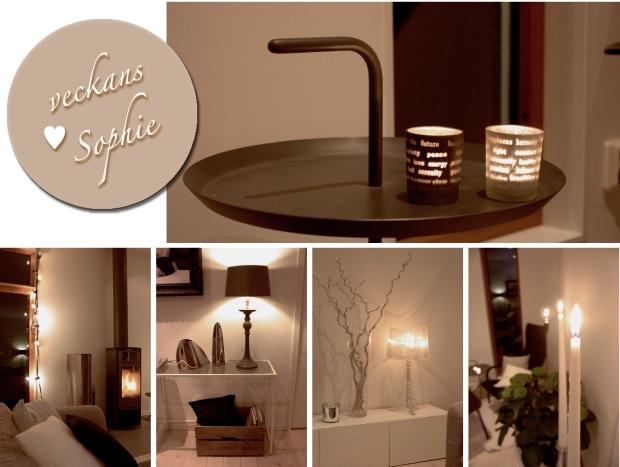 Ljuslyktor, ljusslinga, bordslampor och en golvlampa samt levande ljus - många ljuskällor i ett rum!