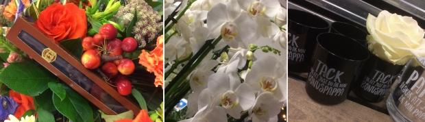Bukett med marsipanchokladcigarr, orkidéer och ljuslyktor
