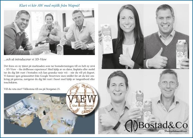Annonsen i Wapnö Allehanda 2015. Gänget från Bostad&Co har mjölkmustasch och gör tummen upp för en AW med mjölk från Wapnö!