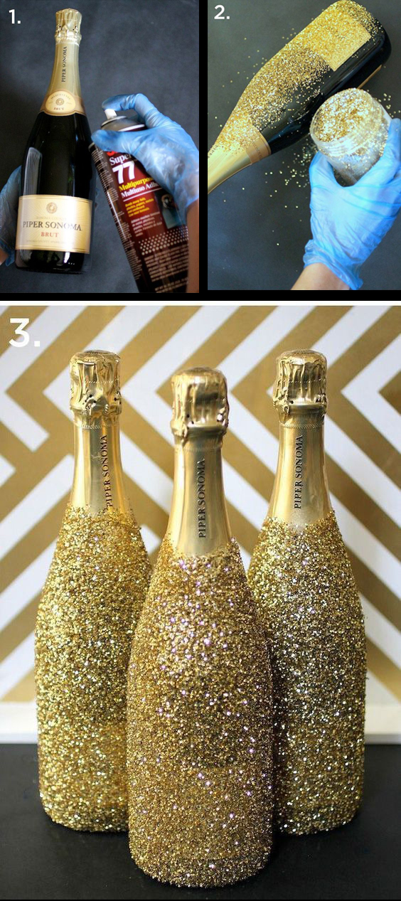 Gör dina flaskor festfina med glitter till nyår