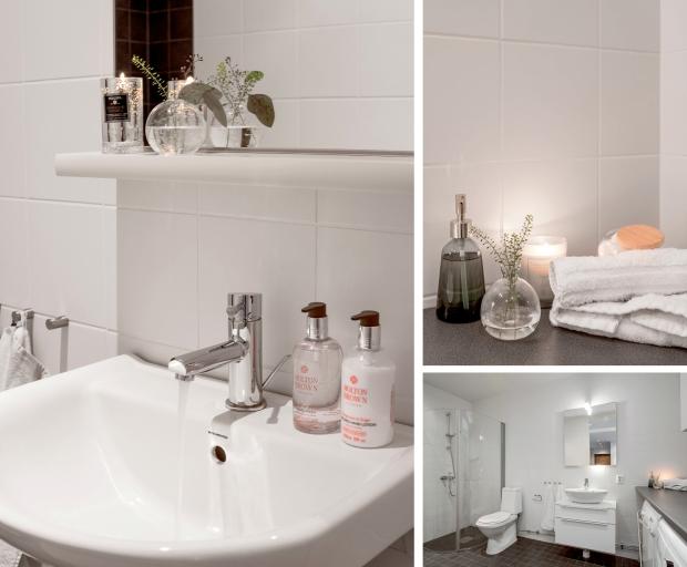 bild på handfat och badrum med höjande detaljer