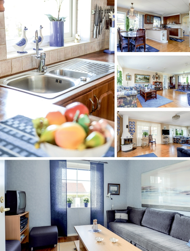 Bilder på en villa som inretts i blått