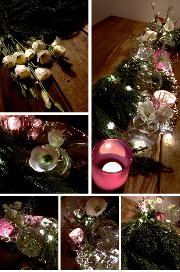 Nyårsdukning med blommor, vaser och ljus