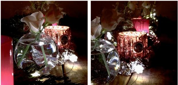 Ljuslyktor och blomvaser blir fint i en nyårsdukning
