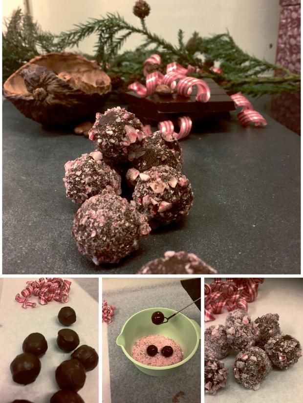 praliner av mörk choklad och polkagris - av prisvinnande Chokladverkstaden i Halmstad
