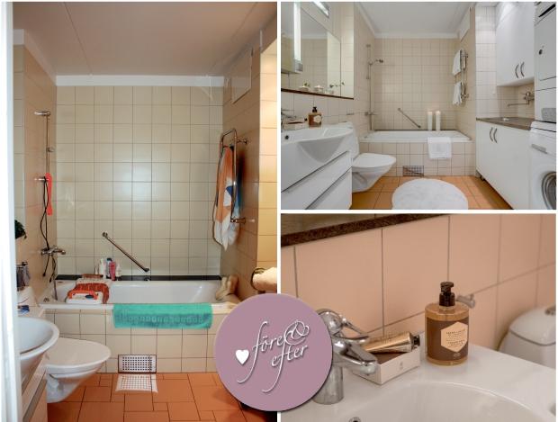 Före- och efterbilder på badrummet