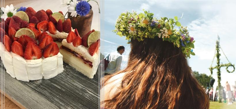 midsommartårta och midsommarkrans