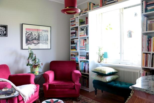 Lekfullt inrett bibliotek/rum för läsning! Foto: Jessika Nilsson