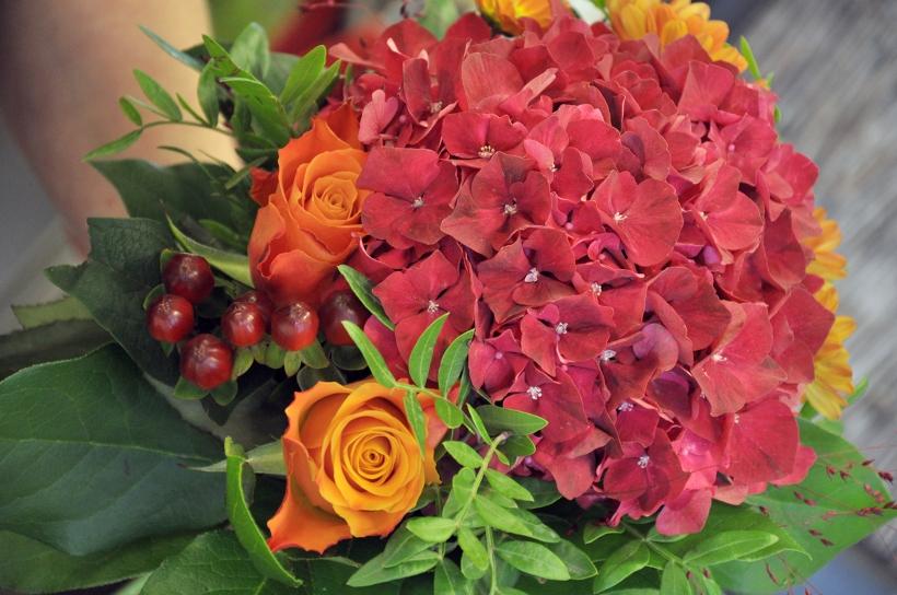 Hortensia - en av de mest populära snittblommorna just nu! Här i en vacker höstbukett!