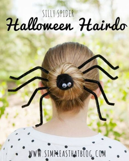 Fin i håret med spindelknut till Halloween! - Bilden är lånad från Pinterest och återfinns med länk på vårt konto där.