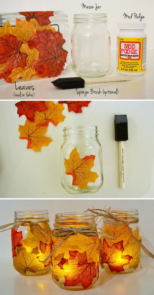 Pyssla med löv, lim och burkar! Bilden är lånad från Pinterest och återfinns med länk på vårt konto där.