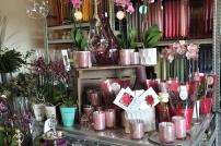 Ett rosa presentbord välkomnar oss på Fröken Wiolas Blomsterverkstad i Söndrum