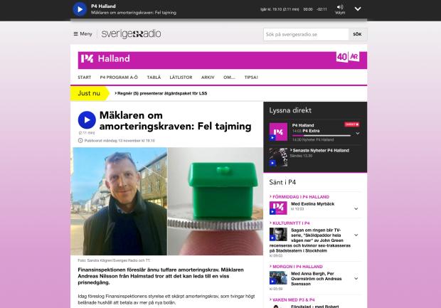 Klipp från P4 Radio Halland - Bostad&Cos Ante Nilsson uttalar sig om amorteringskraven