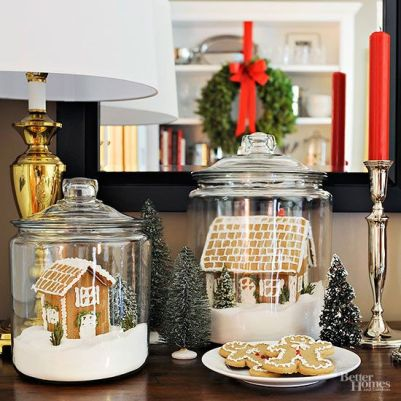 Pepparkakshusmiljö i burk! Fin idé! Bild lånad från bhg.com