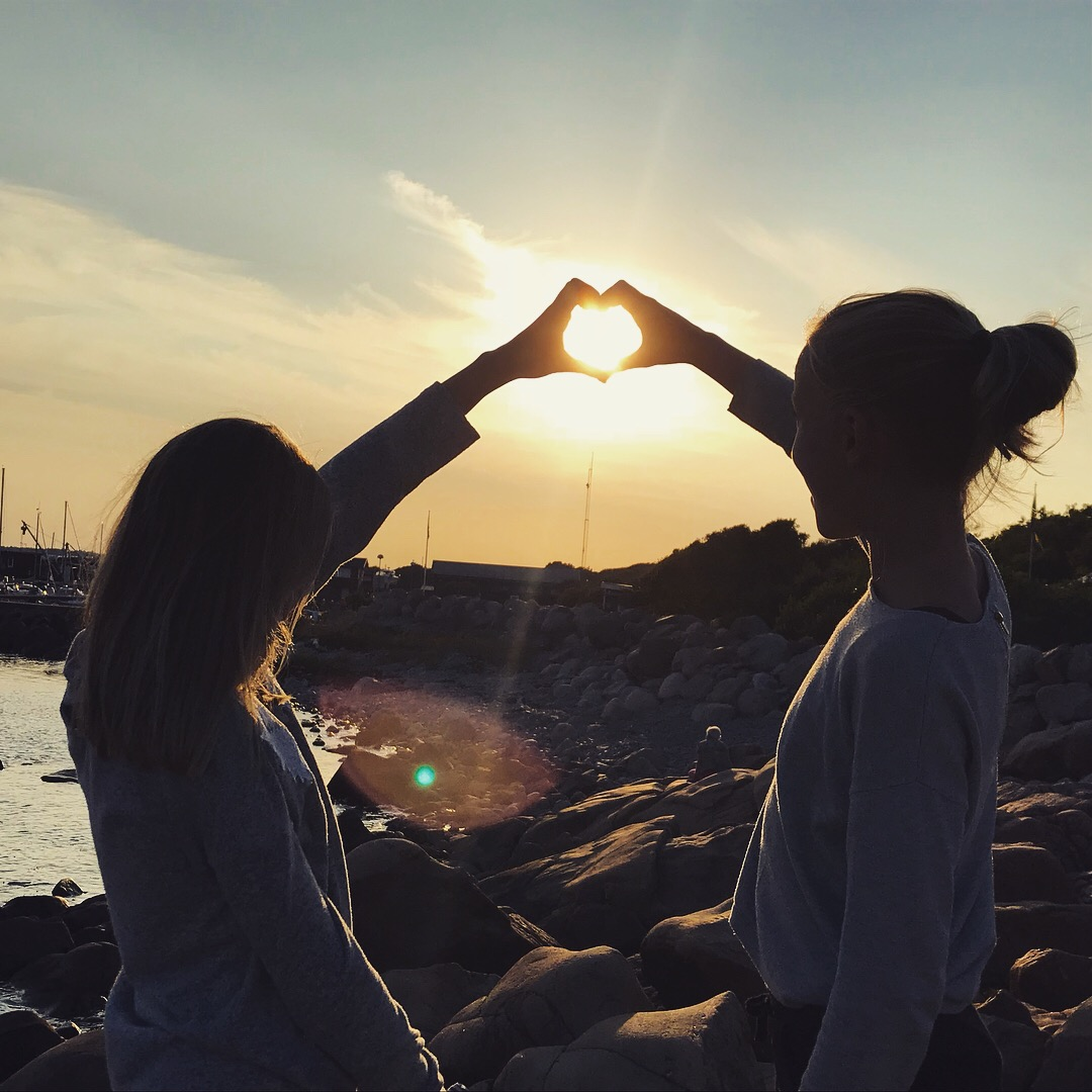 hjärta, barn, solnedgång