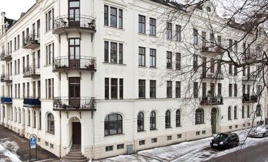 Vacker fasad på Von Möllersgatan i Halmstad
